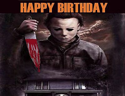 Halloween Michael Myers Personalized Edible Print Cake Topper Sheets 5 Sizes](Michaels Cake Toppers)