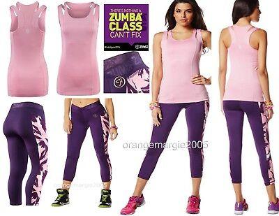 ZUMBA 2Pc.Set!! Capri LEGGINGS & BRA TOP Posh in Pink Yoga Dance *EliteZWear - L ()