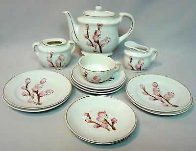 CHILD'S TOY TEA SET, PINK KITTENS ARE BUDS ON PUSSYWILLOW BRANCHES, HAND PAINTED