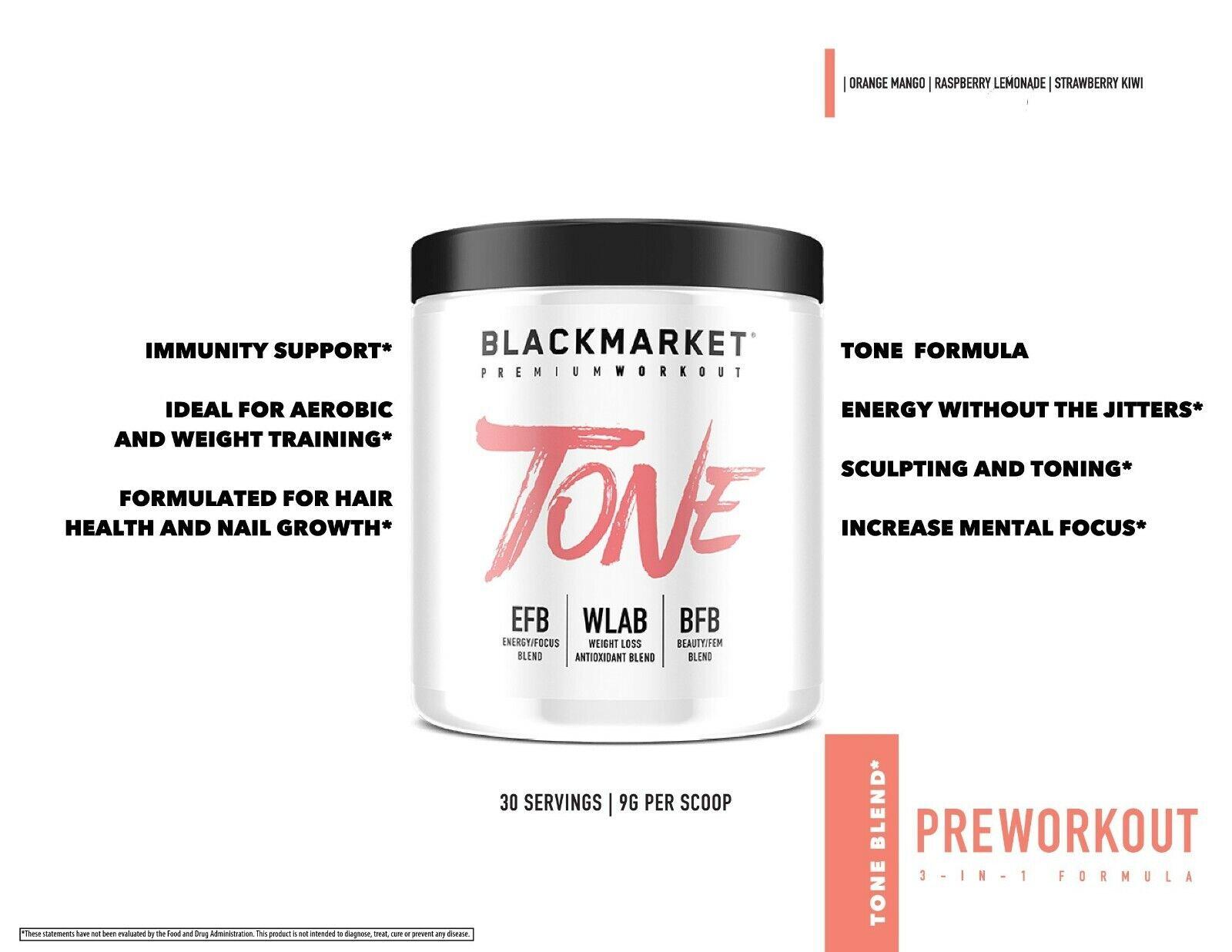 BlackMarket Labs TONE Pre-Workout Powder for Women 30 Servin