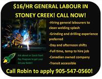 $16/HR GENERAL LABOUR IN STONEY CREEK! CALL NOW!
