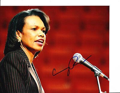 Secretary Of State Condolezza Rice Signed Red Background 8X10