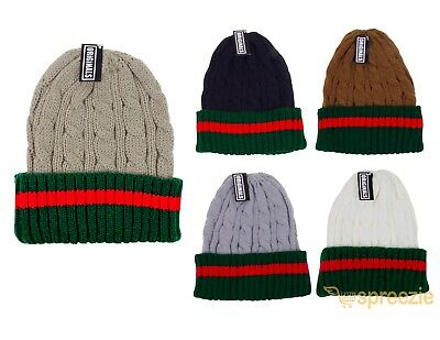 (Beanie Ribbed Cable Knit Red Green Stripe Cuff Ski Snow Warm Winter Unisex Beany)