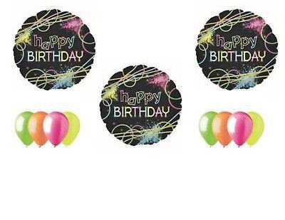 Neon Laser Tag Glowsticks Birthday Party Balloons Decoration Supplies Blacklight (Neon Birthday)