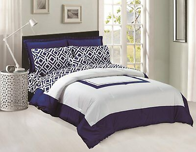 Navy Blue Comforter - Comforter & Sheets set 8 pcs Soft Microfiber Navy Blue and White King Size