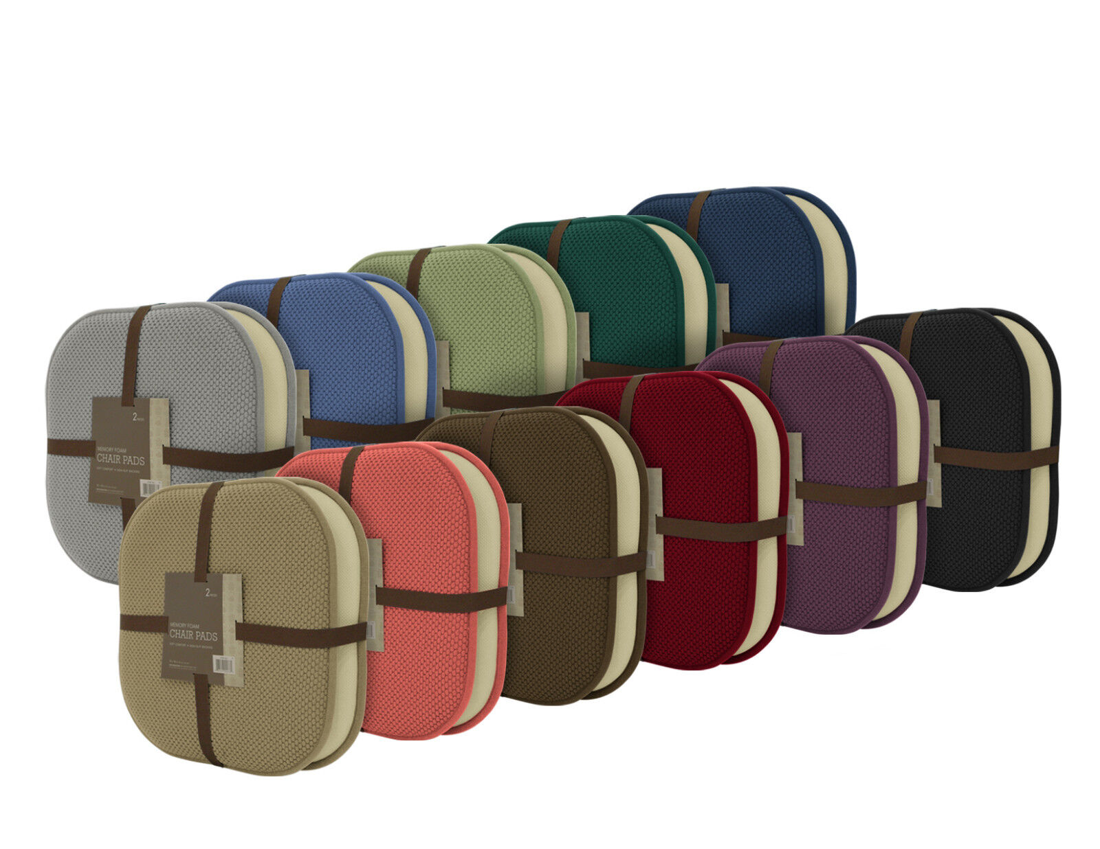 2 Pack: Ultra Comfort Memory Foam Non-Slip Chair Pads/Cushio