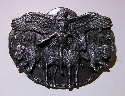 Pewter Men's Native American Belt Buckle~Siskiyou X-50~Made in USA