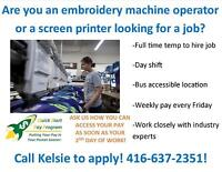 EMBROIDERY & SCREEN PRINTING! CAREER OPPORTUNITY!
