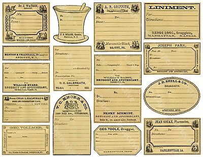 16 APOTHECARY LABELS, Sticker Sheet, Blank Druggist & Pharmacy Labels Art - Blank Sticker Sheets
