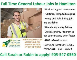 GENERAL LABOUR JOBS IN HAMILTON! SEVERAL IMMEDIATE OPENINGS!