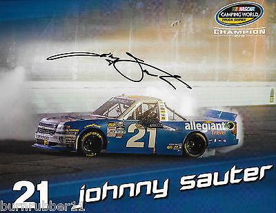 Signed 2017 Johnny Sauter  Allegiant Travel   21 Nascar Truck Series Postcard