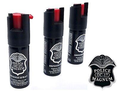3 PACK Police Magnum pepper spray 1/2oz unit safety lock self defense security