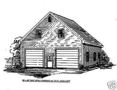 30 x 40 2 Move FG (13 Ft Ceiling) Garage Construction Blueprint Plans / Broad Loft
