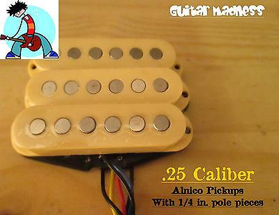 "G.M. .25 Caliber Alnico Single Coil Set with 1/4"" Pole Peices (Cream)"