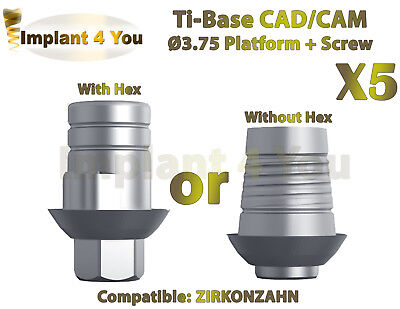 X5 Dental Implant Cadcam Ti-base With Hexwithout Hex Zirkonzahn Compatible
