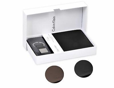 Mans Gift Box Set (Calvin Klein Ck Men's Leather Key Fob Coin Wallet Keychain Gift Box Set 79349 )
