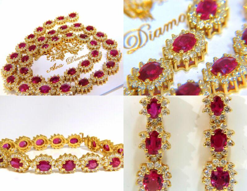 Gia Certified 67.20ct No Heat Ruby Diamond Necklace Bracelet Earrings Unheated+