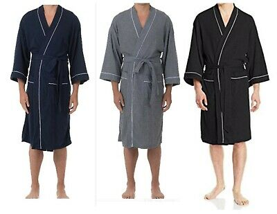 - Mens Robe Fruit of the Loom Men's Waffle Robe Choose Black Gray Blue L/XL