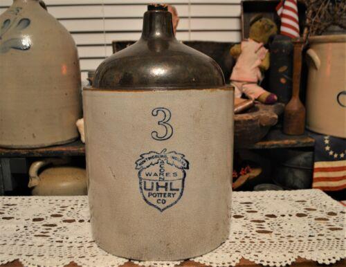 Rare! Antique 3 Gallon UHL Pottery Co Blue Label Acorn Wares Whiskey Jug Crock