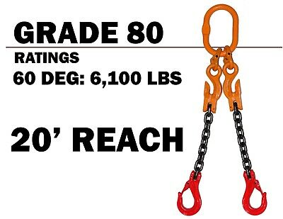 9//32 x 20 Industrial Wire Rope SGG Grade 100 Alloy Chain Sling 9//32