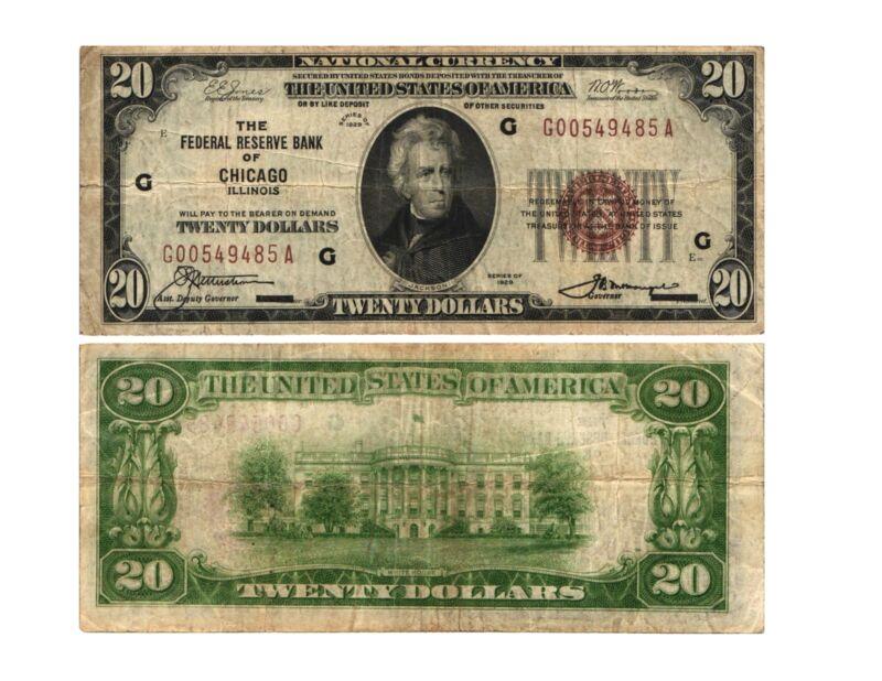 Vtg 1929 $20.00 U.S. Federal Reserve Bank Note CHICAGO, Il. (G)(7) FR# 1870-G