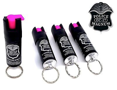 4 PACK Police Magnum pepper spray 1/2oz HP Keyring Defense Security Protection