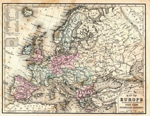 Antique Map Of Europe The New Intermediate Geography Great For Framing 1870