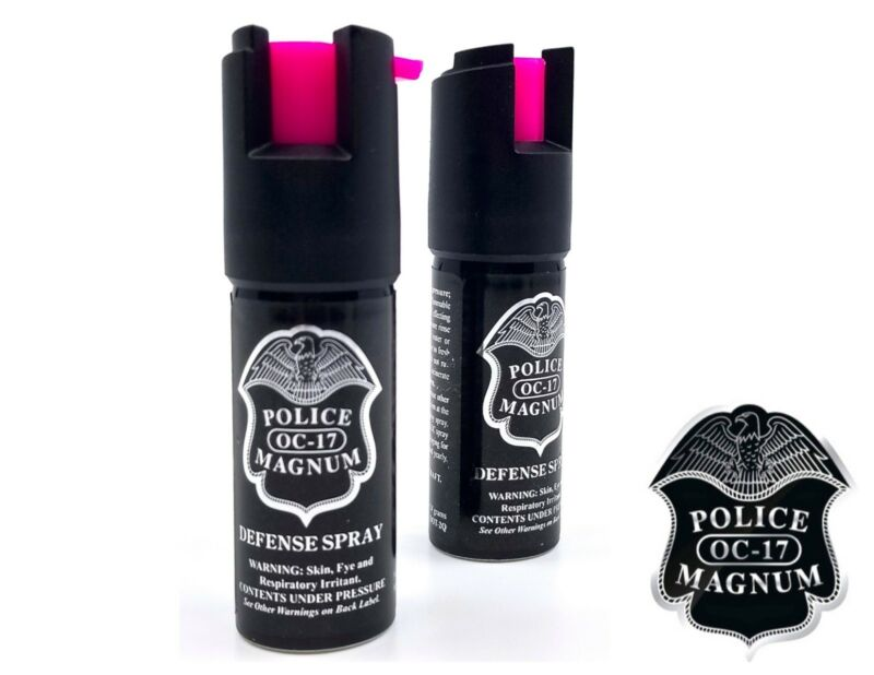 2 PACK Police Magnum pepper spray 1/2oz HP Safety Lock Personal Defense Security