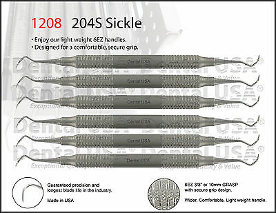 6set Sickle Scaler 204s By Dental Usa 1208b6