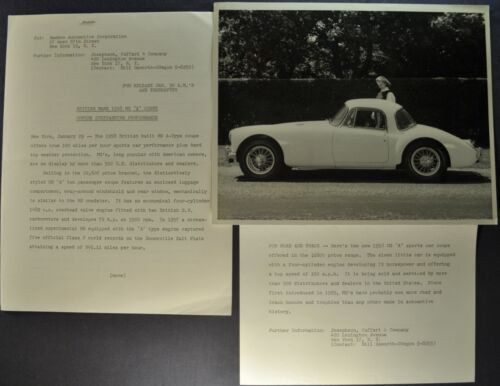 1958 MG MGA Coupe Press Release Photo +Text Excellent Original 58