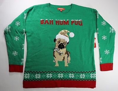 Holiday Tradition Womens Ugly Christmas Sweater Bah Hum Pug Green and Red XL - Traditional Christmas Sweaters