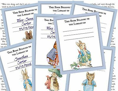 8 Personalised Beatrix Potter Peter Rabbit 'This book belongs to' Book Plates