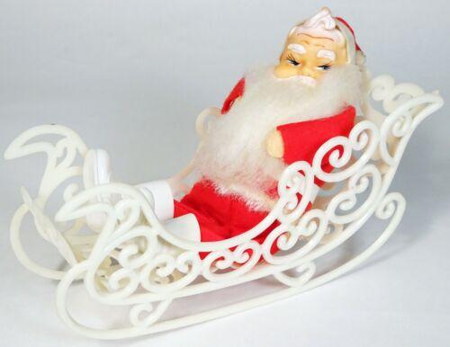 "Vintage Felt Bendable 7"" SANTA CLAUS Doll & White Plastic Christmas SLEIGH-Japan"