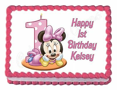 MINNIE MOUSE 1ST BIRTHDAY party edible cake image decoration frosting sheet