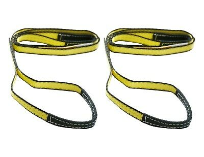 """2 pack 10/' x 2/"""" Lift Sling Straps 20000 Pound 10 ton Capacity With Loops Yellow"""