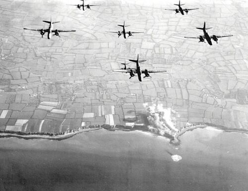 D DAY-PRE INVASION BOMBING-Pointe du Hoc NORMANDY FRANCE-9th A.F. Bombers-PHOTO