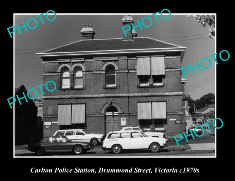 OLD LARGE HISTORIC PHOTO OF THE CARLTON POLICE STATION, DRUMMOND ST, VIC 1970s
