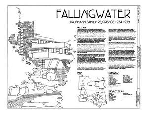 Frank Lloyd Wright Fallingwater House Drawings   Plan Book