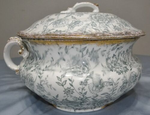 Victorian Chamber Pot Transferware w Lid Cover Antique Porcelain Ceramic Floral