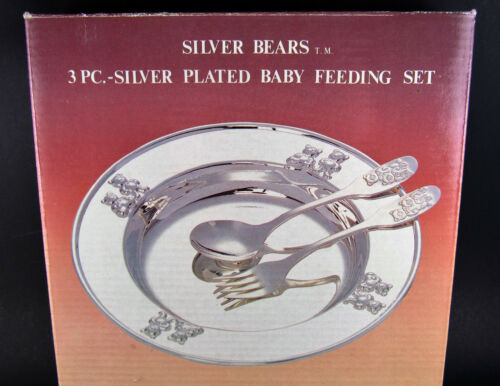 SILVER BEARS SILVER PLATED BABY FEEDING SET BOWL SPOON FORK (A30)