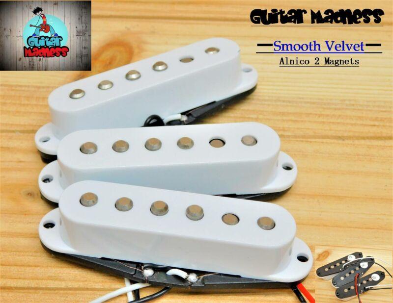G.M. Smooth Velvet  Alnico II Single Coil Set (White) for Fender Stratocaster