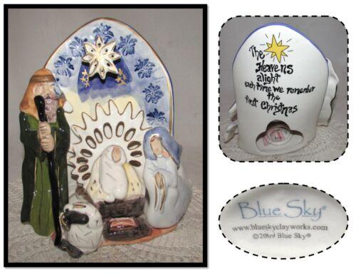 2009 - Blue Sky Clayworks Christmas Nativity Scene Tealight Candle Holder