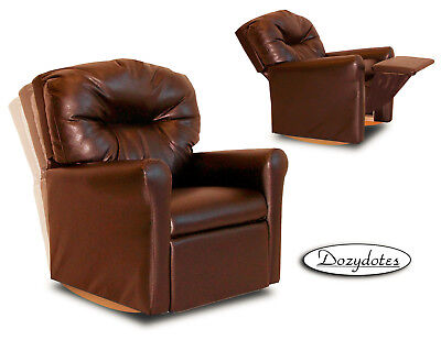 (Child Rocking Chair Recliner - Pecan Brown Leather Like)