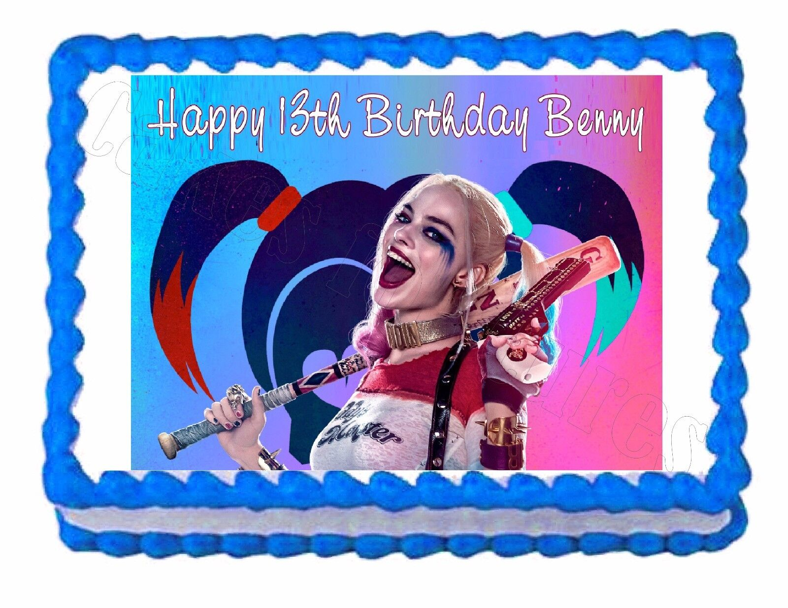 Suicide squad harley quinn party edible cake image cake for Angelina ballerina edible cake topper decoration sale