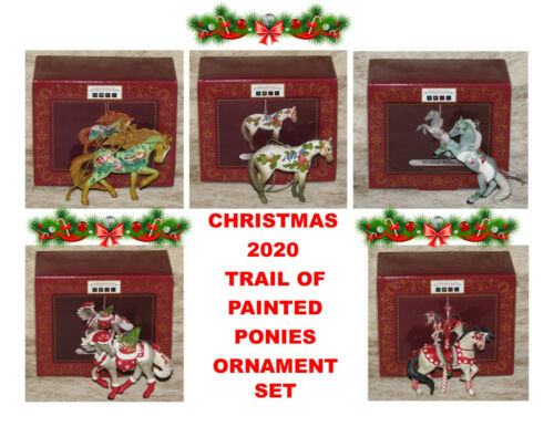 """TRAIL OF PAINTED PONIES 2020 Christmas Holiday Ornament Set of 5~2.25"""" to 3""""Tall"""
