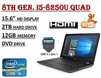 """HP 15.6"""" Laptop 8th Gen Intel i5-8250U Quad 12GB RAM 2TB HDD DVDRW USB-3.1 Win10"""