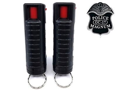 2 PACK Police Magnum pepper spray 1/2oz Black Molded Keychain Defense Security