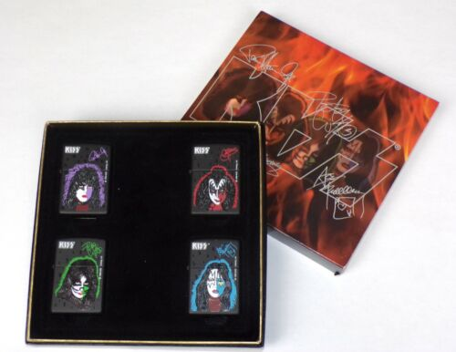 KISS Band Zippo Lighter Solo Albums Faces Box Set 1998 Sealed Gene Ace Paul Pete
