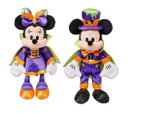Authentic Disney Store Mickey & Minnie Mouse Vampire Halloween Plush 16-17