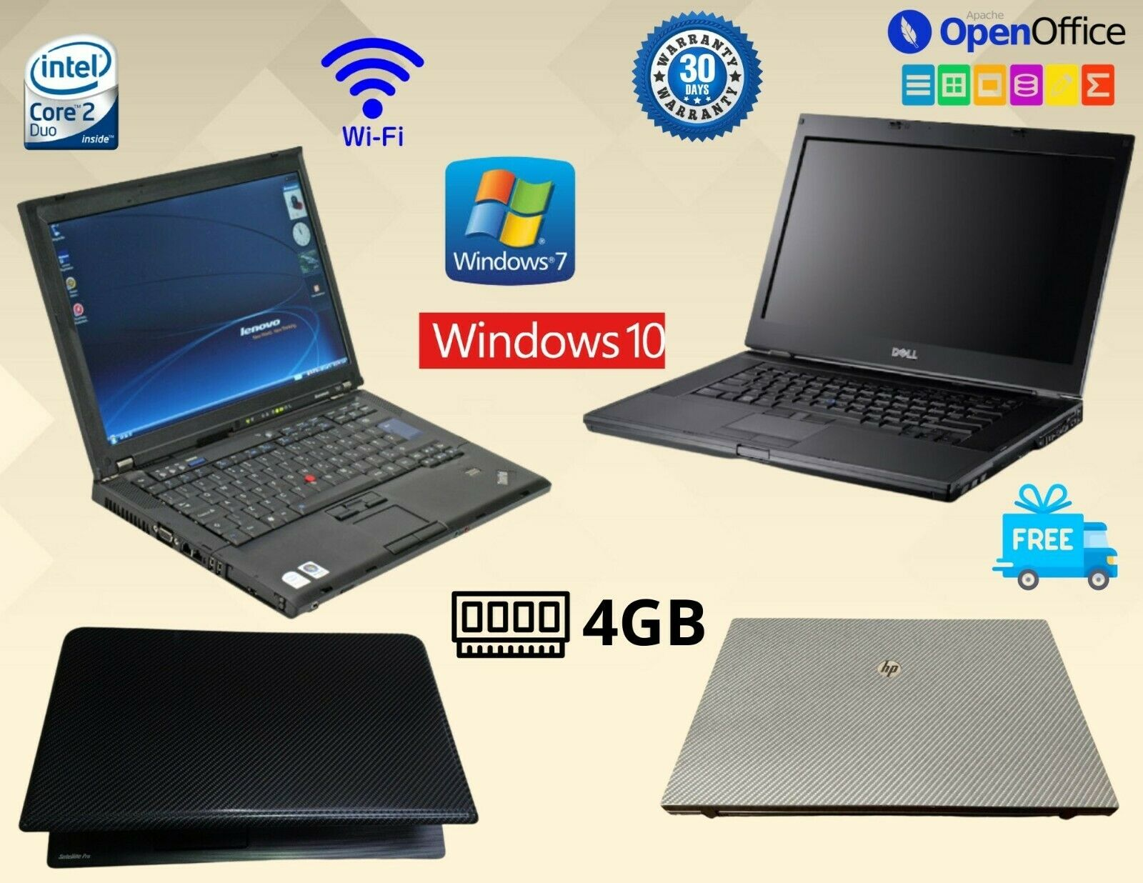Laptop Windows - FAST CHEAP LAPTOP HP LENOVO DELL TOSHIBA INTEL CORE 2 DUO 4GB RAM WINDOWS 7 / 10